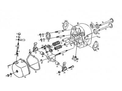 Схема головка цилиндра в сборе R175А, R175АN, R180, R180N