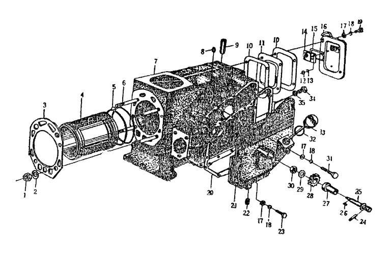 блок цилиндра в сборе R175А, R175АN, R180, R180N